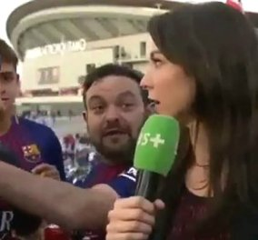 """Η πιο live αντίδραση όμορφης δημοσιογράφου σε οπαδό της Μπαρτσελόνα - Την αγγίζει & τον βάζει """"στη θέση του"""" (ΒΙΝΤΕΟ) - Κυρίως Φωτογραφία - Gallery - Video"""