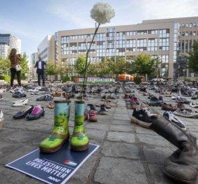 10 χρόνια, 4.500 νεκροί Παλαιστίνιοι- 4.500 άδεια ζευγάρια παπούτσια πάνω στην πλατεία Jean Rey στις Βρυξέλλες- Συγκινητικές εικόνες (ΦΩΤΟ-ΒΙΝΤΕΟ) - Κυρίως Φωτογραφία - Gallery - Video