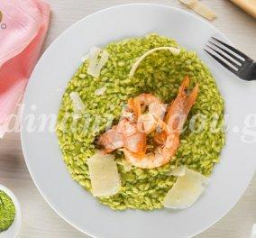Γεύση κι άρωμα στο πράσινο ριζότο με γαρίδες που μας ετοιμάζει η Ντίνα Νικολάου - Κυρίως Φωτογραφία - Gallery - Video