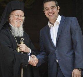Ο Αλέξης Τσίπρας συνεχάρη τον Οικουμενικό Πατριάρχη Βαρθολομαίο για τις προσπάθειες επίλυσης του Σκοπιανού (VIDEO) - Κυρίως Φωτογραφία - Gallery - Video