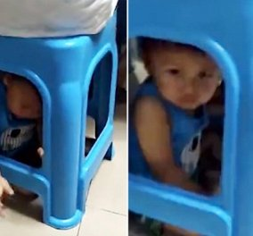 Viral με πάνω από 1 εκατ. θεάσεις το βίντεο: Η μαμά εγκλωβίζει τον 1 έτους γιο της σε σκαμπό για να παίξει χαρτιά! (Βίντεο) - Κυρίως Φωτογραφία - Gallery - Video