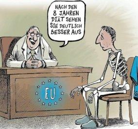 Αφιερωμένη στο ελληνικό πρόγραμμα και... τα αποτελέσματα του η σημερινή καυστική γελοιογραφία του Der Spiegel - Κυρίως Φωτογραφία - Gallery - Video