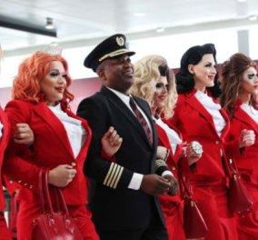 Η Virgin Atlantic αρχίζει πτήσεις με όλα τα μέλη του πληρώματος γκέι και της ΛΟΑΤΚΙ κοινότητας - Drag show εν πτήσει (Βίντεο) - Κυρίως Φωτογραφία - Gallery - Video