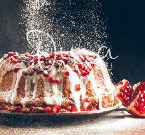 Ντίνα Νικολάου: Μοσχοβολιστό κέικ με άρωμα μανταρίνι, καρύδια & ρόδι - Κυρίως Φωτογραφία - Gallery - Video