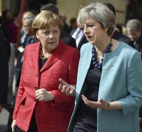 Γυναίκες ενωμένες ποτέ νικημένες: Η Μέρκελ και η Μέι έφαγαν μαζί με μενού: Καθυστέρηση του Brexit για δύο χρόνια (φώτο) - Κυρίως Φωτογραφία - Gallery - Video