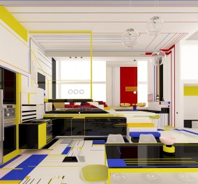 Διαμέρισμα με έμπνευση από πίνακες του Mondrian σαν έργο τέχνης: Υπέροχα χρώματα & αισθητική   - Κυρίως Φωτογραφία - Gallery - Video