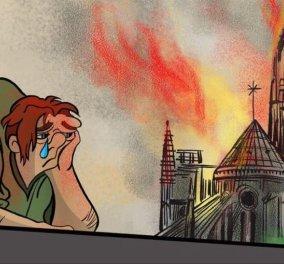 Ο Κουασιμόδος «κλαίει» σκυμμένος πάνω από την Παναγία των Παρισίων – Σκίτσα που φέρνουν ρίγη συγκίνησης - Κυρίως Φωτογραφία - Gallery - Video