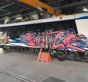 1 εικόνα 1000 λέξεις: Mε γκραφίτι γέμισαν τα ολοκαίνουργια αχρησιμοποίητα βαγόνια του μετρό Θεσσαλονίκης! (φωτό) - Κυρίως Φωτογραφία - Gallery - Video