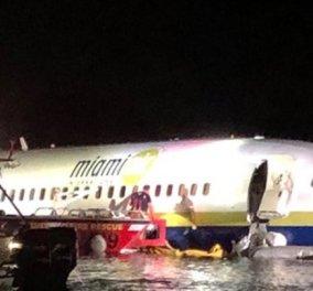 Τύχη βουνό! Δεν έπαθαν τίποτε οι 136 επιβαίνοντες του Boeing 737 - Βγήκε σε ποτάμι από διάδρομο προσγείωσης με καταρρακτώδη βροχή  - Κυρίως Φωτογραφία - Gallery - Video