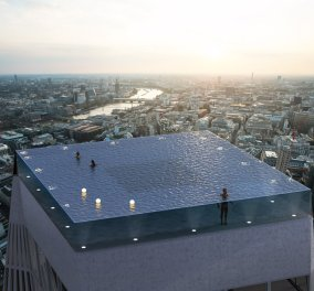 Λονδίνο: Εντυπωσιακή πισίνα στην κορυφή ουρανοξύστη - Η πρώτη στον κόσμο με θέα 360 μοιρών - Θυμίζει ταινία Τζέιμς  Μποντ (φώτο) - Κυρίως Φωτογραφία - Gallery - Video