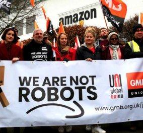 """""""Είμαστε άνθρωποι όχι ρομπότ"""": Οι εργαζόμενοι της Amazon απεργούν - αναγκάζονται να ουρούν σε πλαστικά μπουκάλια για να μην εγκαταλείψουν το πόστο τους (φώτο-βίντεο)  - Κυρίως Φωτογραφία - Gallery - Video"""