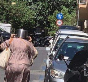 Τα δυσάρεστα θέλουν και την πλάκα τους : Ηλικιωμένη τρέχει με τα το σεισμό με μια κατσαρόλα στο κεφάλι (φωτό & βίντεο) - Κυρίως Φωτογραφία - Gallery - Video