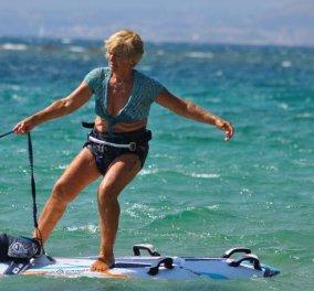 Τα κατάφερε η 81χρονη windsurfer Α. Γερολυμάτου - Έκανε με ιστιοσανίδα το θαλάσσιο διάπλου Κεφαλονιά -Κυλλήνη - Κυρίως Φωτογραφία - Gallery - Video