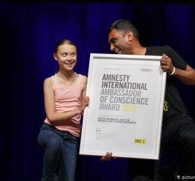 Η 16χρονη ακτιβίστρια, Γκρέτα Τούνμπεργκ βραβεύτηκε από τη Διεθνή Αμνηστία με το βραβείο «Πρεσβευτές Συνείδησης» (φωτό & βίντεο) - Κυρίως Φωτογραφία - Gallery - Video