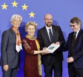 Τα 4 νέα ισχυρά πρόσωπα της Ευρώπης στην πρεμιέρα τους : Φον ντερ Λάιεν & Κριστίν Λαγκάρντ με μεταξωτά μαντήλια -  Σαρλ Μισέλ καμαρωτός (φώτο-βίντεο)  - Κυρίως Φωτογραφία - Gallery - Video