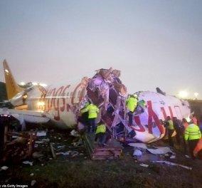 Αεροπλάνο κόπηκε στα τρία σε αεροδρόμιο στην Κωνσταντινούπολη – 52 τραυματίες (φωτό & βίντεο) - Κυρίως Φωτογραφία - Gallery - Video