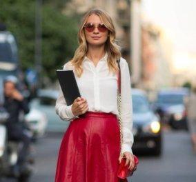 Ιδέες για ντύσιμο με κόκκινη δερμάτινη φούστα - Συνδυασμοί για εκπληκτικό styling - Κυρίως Φωτογραφία - Gallery - Video