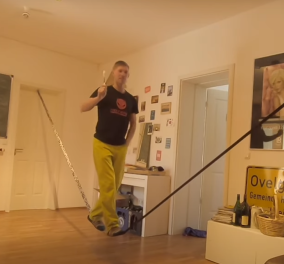 Απολαυστικό βίντεο: Να πως περνάει ένας σχοινοβάτης δημιουργικά την καραντίνα στο σπίτι   - Κυρίως Φωτογραφία - Gallery - Video