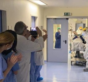 Κορωνοϊός - Ο κύριος Γιώργος ο νικητής της ημέρας από το Θριάσιο: Πανηγυρίζει το προσωπικό - Έξοδος μετά από 25 μέρες (φωτό - βίντεο) - Κυρίως Φωτογραφία - Gallery - Video