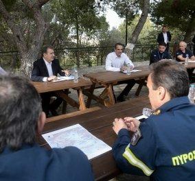 Μητσοτάκης, Χαρδαλιάς, Χρυσοχοΐδης στον Υμηττό - Σύσκεψη από κοντά & από μακριά με την Πυροσβεστική (φωτό) - Κυρίως Φωτογραφία - Gallery - Video