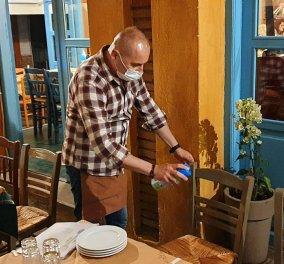 Ταβερνιάρης υπόδειγμα στα Τρίκαλα: Δείτε τον στο βίντεο - Ψεκάζει τραπέζια, καρέκλες πριν καθίσει ο πελάτης - Κυρίως Φωτογραφία - Gallery - Video