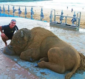 Ρωτάω, αυτός είναι ένας ταύρος ή ένα γλυπτό από άμμο; It's amazing, it's fantastic (φωτό) - Κυρίως Φωτογραφία - Gallery - Video