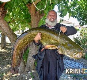 Ψαριά- μαμούθ  για τον παπά Βασίλειο στα Τρίκαλα - «Έβγαλε» γουλιανό 35 κιλών (Φωτό)  - Κυρίως Φωτογραφία - Gallery - Video