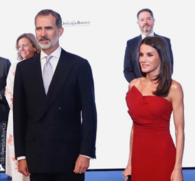 Βασίλισσα Λετίσια: Με κόκκινο φουστάνι, ασύμμετρο , στράπλες & έντονο μαύρισμα – Τα σινιόν & τα ρουμπίνια - Κυρίως Φωτογραφία - Gallery - Video