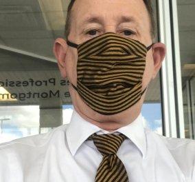 Ωραίος τύπος! Κάθε μέρα ο κυριούλης φοράει γραβάτα & μάσκα από το ίδιο ύφασμα! Είπατε κάτι; Φωτό όλη η συλλογή του ... - Κυρίως Φωτογραφία - Gallery - Video