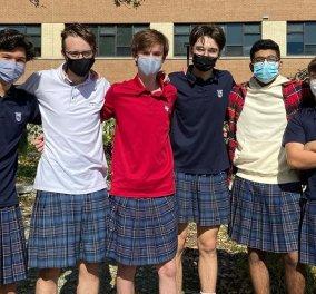 100 Καναδοί μαθητές φόρεσαν φούστα – Η διαμαρτυρία των αγοριών ως ένδειξη συμπαράστασης στα κορίτσια του σχολείου (Φωτό)   - Κυρίως Φωτογραφία - Gallery - Video