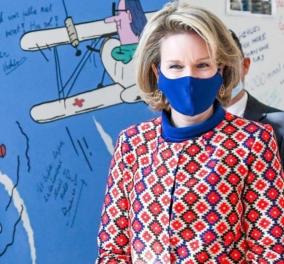 Βασίλισσα Ματθίλδη του Βελγίου: Όλη η γκαρνταρόμπα της, ασορτί με μάσκες από το ίδιο ύφασμα - Δείτε φωτό  - Κυρίως Φωτογραφία - Gallery - Video