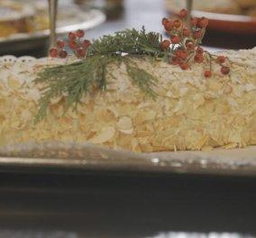 Ο Στέλιος Παρλιάρος δημιουργεί: Χριστουγεννιάτικος κορμός αμυγδάλου - Ότι πρέπει για το γιορτινό τραπέζι - Κυρίως Φωτογραφία - Gallery - Video