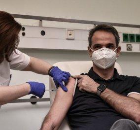 Ο Πρωθυπουργός Κυριάκος Μητσοτάκης εμβολιάστηκε - ''Σήμερα  όλοι χαμογελάμε κάτω από τις μάσκες'' (φωτό & βίντεο) - Κυρίως Φωτογραφία - Gallery - Video