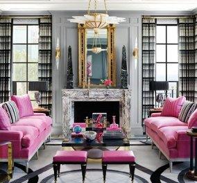 Δύο fashion gurus «ανοίγουν» το σπίτι τους: Ροζ τοίχοι, ένα υπέροχο πράσινο γραφείο και θαλασσί ντουλάπια στην κουζίνα (φωτό) - Κυρίως Φωτογραφία - Gallery - Video