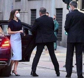 Άλλη μια υπέροχη εμφάνιση για την βασίλισσα Λετίσια της Ισπανίας: Γαλάζια φούστα ως το γόνατο και θεϊκό παπούτσι με λουράκι (φωτό) - Κυρίως Φωτογραφία - Gallery - Video