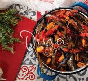 Ντίνα Νικολάου: Ένα απίθανο πιάτο με θαλασσινά - Μύδια με ρετσίνα, πιπεριές και δενδρολίβανο  - Κυρίως Φωτογραφία - Gallery - Video