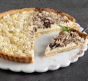 Τάρτα αμυγδάλου με κρέμα λευκής σοκολάτας - Ο Άκης Πετρετζίκης γιορτάζει την National Almond day με ένα ονειρικό γλυκό  - Κυρίως Φωτογραφία - Gallery - Video