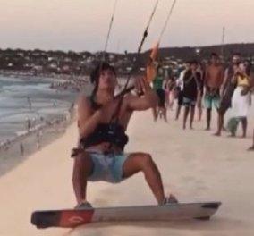 Απίθανο βίντεο: Αθλητής κάνει Kitesurfing στη Βραζιλία - Εκσφενδονίζεται στον αέρα και προσγειώνεται στην θάλασσα - Κυρίως Φωτογραφία - Gallery - Video