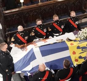 Κηδεία Πρίγκιπα Φίλιππου: Η ελληνική σημαία πάνω στο φέρετρό του μαζί με την δική του - Τι συμβολίζει (φωτό) - Κυρίως Φωτογραφία - Gallery - Video