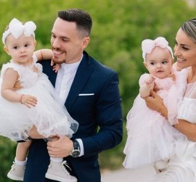 Πετρούνιας - Μιλλούση: Οι φωτό από την βάφτιση της Σοφίας & της Ελένης! Σκέτη γλύκα οι κόρες τους, με τα φουστάνια & τους φιόγκους τους - Κυρίως Φωτογραφία - Gallery - Video