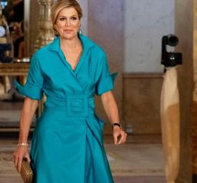 Η βασίλισσα Mάξιμα φόρεσε τυρκουάζ φουστάνι με τεράστια ζώνη - Aσορτί σκουλαρίκια, χαμηλός κότσος  - Nude οι γόβες & το Bottega clutch (φωτό) - Κυρίως Φωτογραφία - Gallery - Video