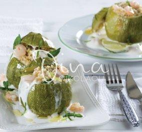 Η Ντίνα Νικολάου προτείνει: Κολοκυθάκια γεμιστά με πλιγούρι και γαρίδες - ένα πεντανόστιμο πιάτο με πλούσια διατροφική αξία - Κυρίως Φωτογραφία - Gallery - Video