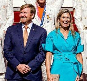 Βασίλισσα Μάξιμα: Με turquoise φόρεμα ποπλίνα - ξεχωρίζει ανάμεσα στους δεκάδες Ολυμπιονίκες της Ολλανδίας (φωτό) - Κυρίως Φωτογραφία - Gallery - Video
