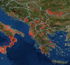 Ο πλανήτης καίγεται - Η NASA μας κόβει την ανάσα με αυτή τη φωτογραφία των κόκκινων εστιών σε όλες τις Ηπείρους  - Κυρίως Φωτογραφία - Gallery - Video