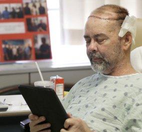 Ο πρώτος άνθρωπος στον κόσμο με μεταμόσχευση κρανίου χαμογελά - Δείτε φωτό & βίντεο  - Κυρίως Φωτογραφία - Gallery - Video