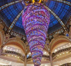 Kαλημέρααα - Ίσως το ωραιότερο δέντρο που έχετε δει: Στις Galeries Lafayette στο Παρίσι: Μωβ, πανύψηλο, φαντασμαγορία γιορτινή! (Φωτό) - Κυρίως Φωτογραφία - Gallery - Video