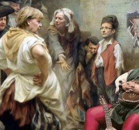 Δείτε τον… σκυμμένο Σαμαρά, τον  Ντεπαρντιέ και τη Mέρκελ, μαζί σε έναν ξεκαρδιστικό πίνακα ρώσου καλλιτέχνη - Κυρίως Φωτογραφία - Gallery - Video