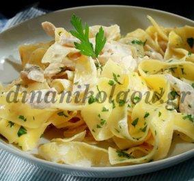 Η Ντίνα Νικολάου μαγειρεύει για εμάς παπαρδέλες με τυρί κρέμα και λωρίδες κοτόπουλου! Μούρλια! - Κυρίως Φωτογραφία - Gallery - Video