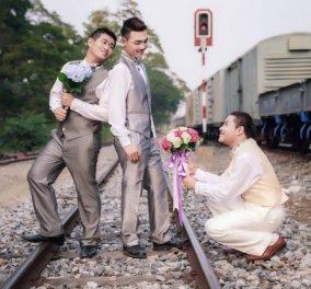 """Τρεις άνδρες """"παντρεύτηκαν"""" στην Ταϊλάνδη την ημέρα του Αγίου Βαλεντίνου: Να τα αγόρια σε τρυφερές γαμήλιες εικόνες! - Κυρίως Φωτογραφία - Gallery - Video"""