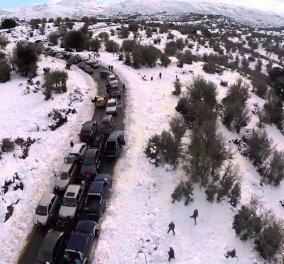 Good News: Αυτό που έγινε στ' Ανώγεια δεν έχει ματαγίνει! Ουρά χιλιομέτρων για να δουν το χιόνι στον Ψηλορείτη!  - Κυρίως Φωτογραφία - Gallery - Video